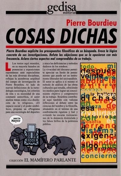 Libro: Cosas dichas  - Autor: Pierre Bourdieu - Isbn: 9788474325034