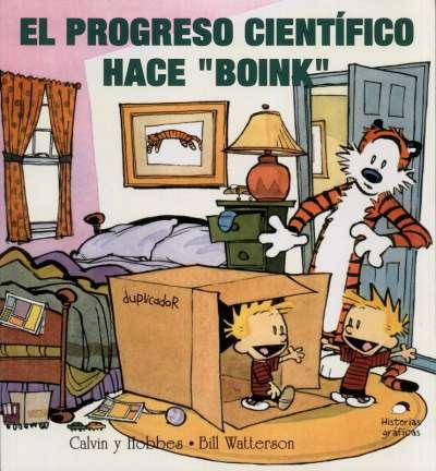 Calvin y Hobbes. El progreso científico hace boink